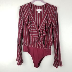 Band of Gypsies Bodysuit Blouse Burgundy Ruffles